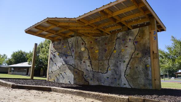 A cool new bouldering wall for free climbing