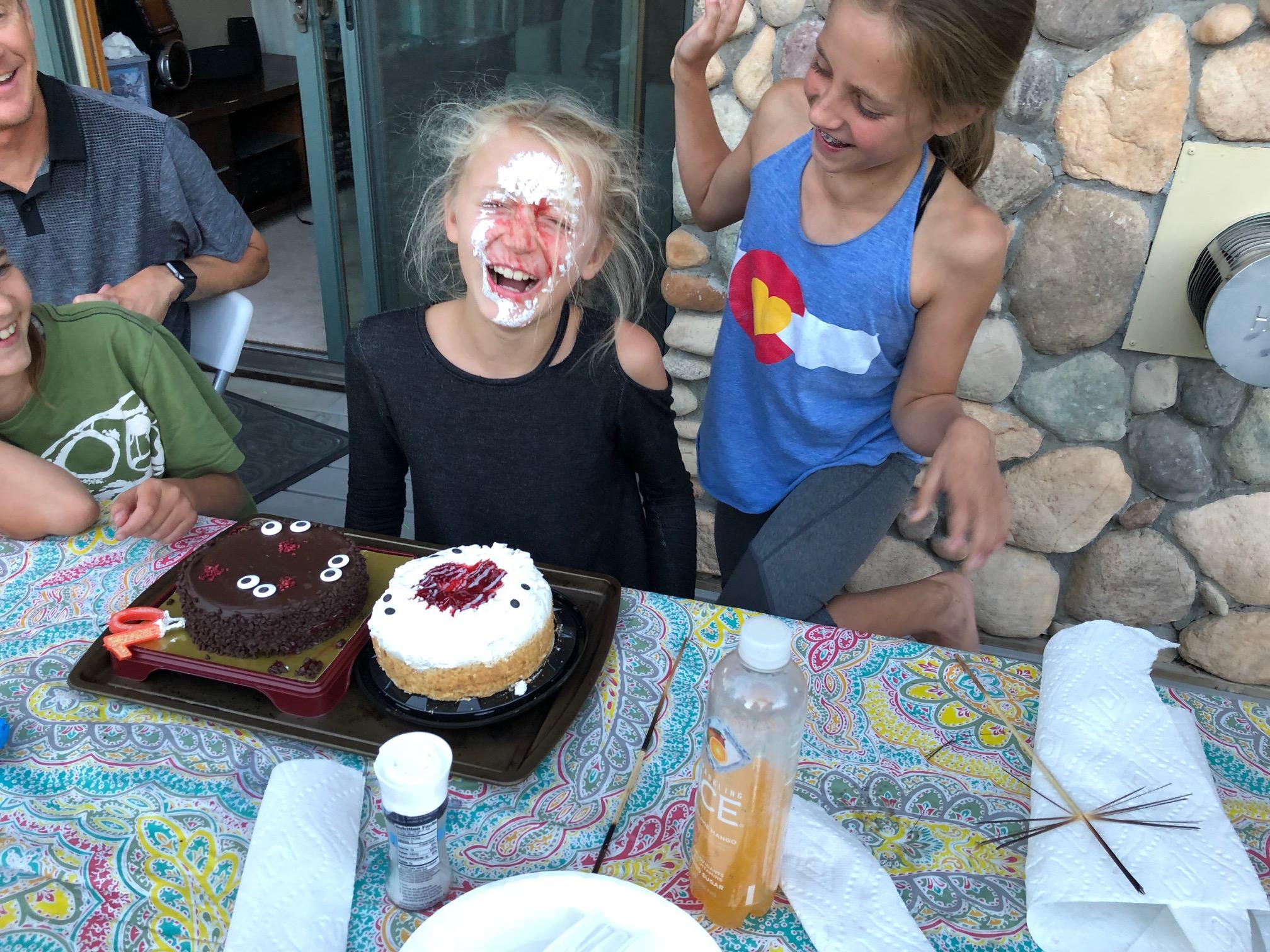 Riley cake in face